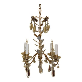 C1940s Hollywood Regency Maison Bagues Dore Bronze & Crystal Chandelier For Sale