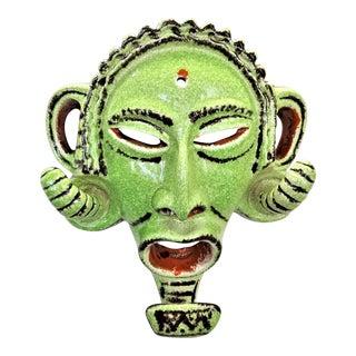 1960s Green Glazed Ceramic Tribal Mask - Mid Century Modern MCM Palm Beach Boho Chic Tropical Coastal Safari African For Sale