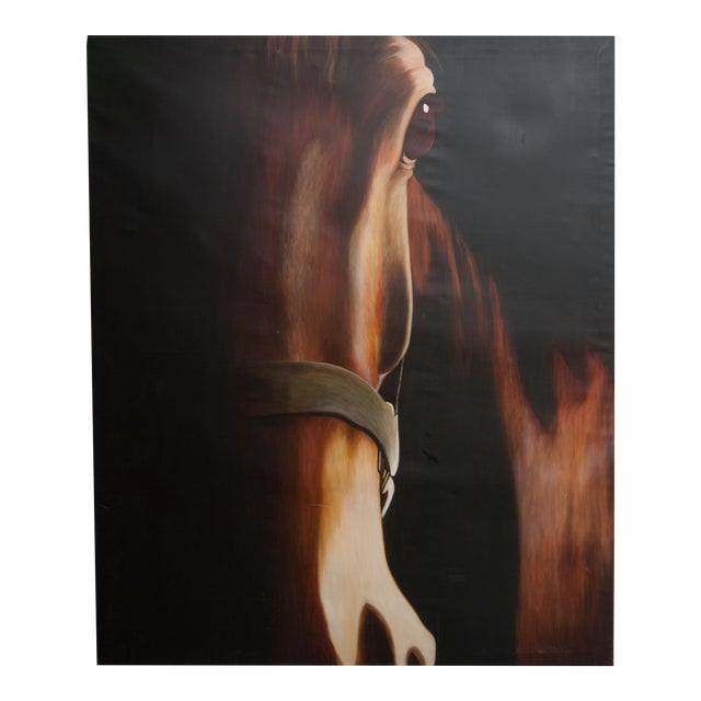 Original Stylized Equine Oil Painting on Canvas For Sale