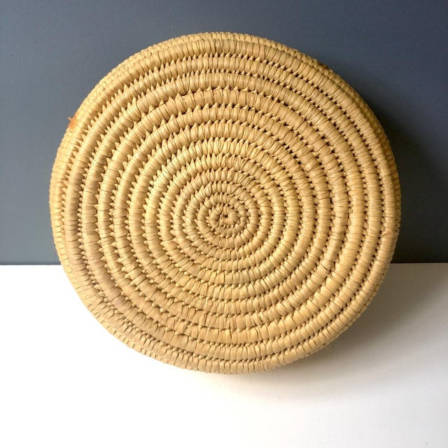 1950s Coiled Large Woven Basket For Sale - Image 5 of 6