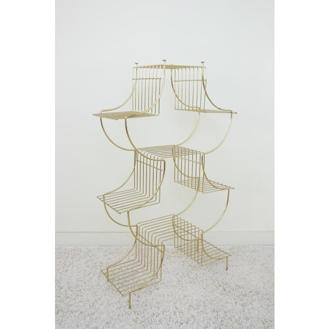 1950s Art Deco Brass Wire Plant Stand For Sale - Image 4 of 4
