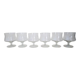 Vintage Floral Etched Glass Clear Crystal Footed Dessert Cups Champagne Coupe Set of 6 For Sale