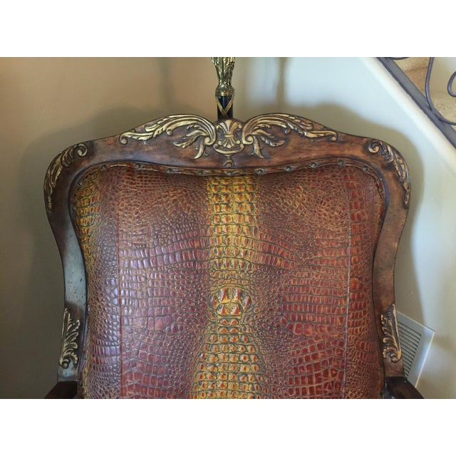 2010s Embossed Leather Crocodile Pattern Accent Chair For Sale - Image 5 of 6