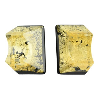Anne and Frank Vigneri Clip-On Earrings Black Lucite and Gold Inclusions For Sale