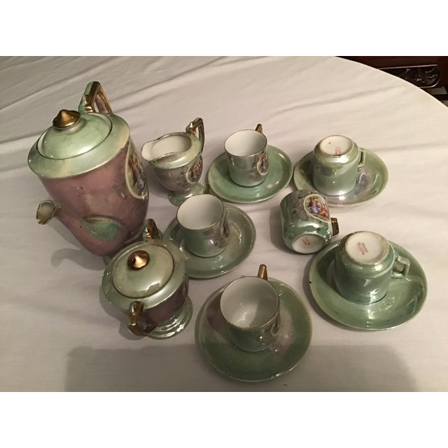 Vintage Hand Painted Angelica Kauffmann Style Tea Service - Set of 14 For Sale - Image 4 of 11