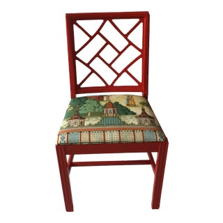 Chinoiserie Chippendale Fret Work Occasional Chair