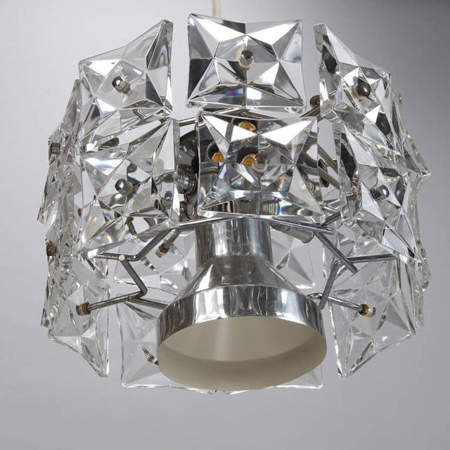 Kinkeldey Crystal Fixture with Chrome and Nickel Base For Sale In Detroit - Image 6 of 6
