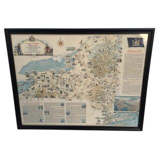 Vintage New York Framed Pictorial Map