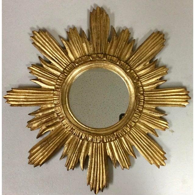 Hollywood Regency Italian Florentine Sunburst Giltwood Mirror For Sale - Image 3 of 5