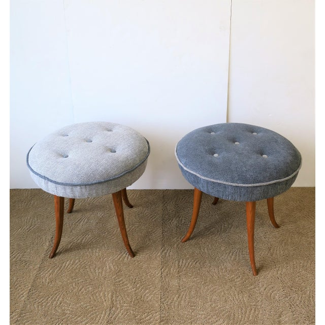 Wood Pair of Austrian Blue Upholstered Stools After Josef Frank For Sale - Image 7 of 13