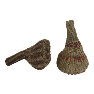 Vintage African Woven Maracas - a Pair For Sale