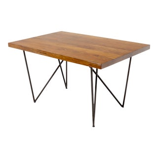 Solid Thick Teak Block Top Dining Table on Hairpin Legs For Sale
