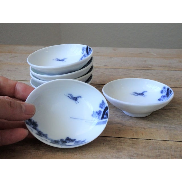 Ceramic Vintage Japanese Blue and White Small Dishes - Set of 6 For Sale - Image 7 of 13