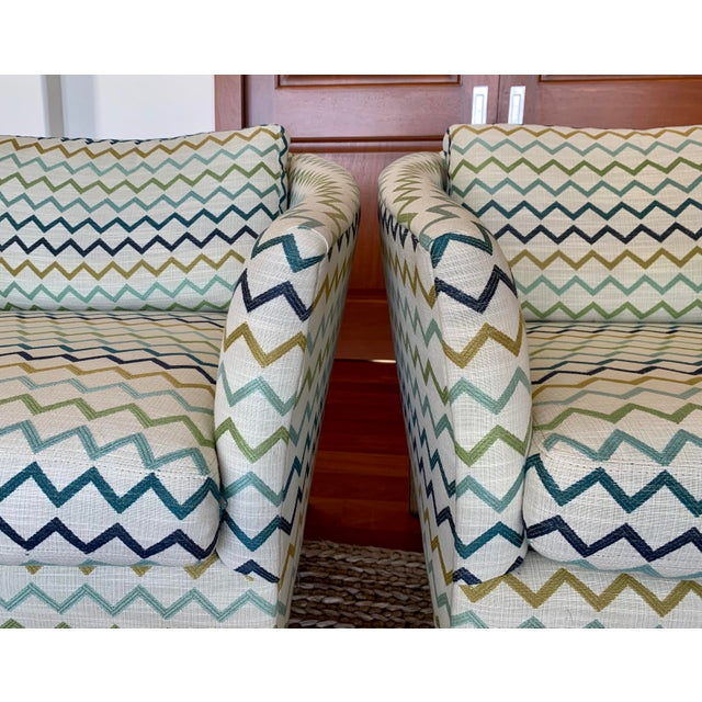 Wood Lee Industries Upholstered Club Chairs -a Pair For Sale - Image 7 of 8