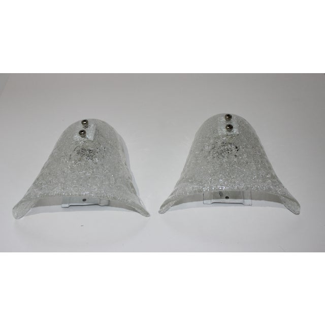 Transparent Mid-Century Modern Doria Leuchten Murano Glass Bell Sconces - a Pair For Sale - Image 8 of 11