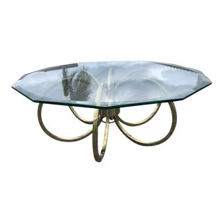 Milo Baughman Style Gold Loop Coffee Table For Sale