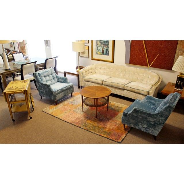 Blue Mid Century Modern Kroehler Suite Crushed Velvet Sofa Chairs Set 1950s - Set of 3 For Sale - Image 8 of 10