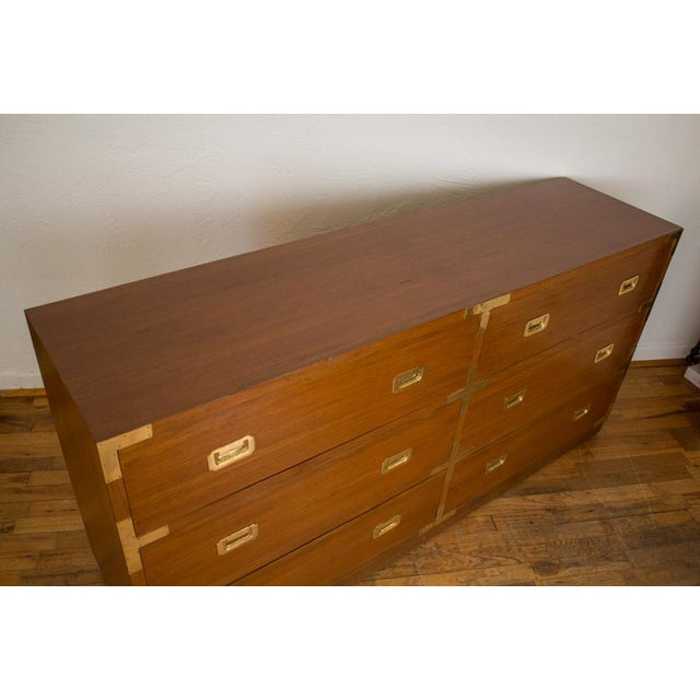 Mid Century Low Boy Campaign Dresser with Detachable Mirror For Sale - Image 4 of 11