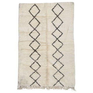 Beni Ourain Moroccan Rug With Two Column Diamond Pattern For Sale