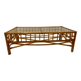 Mid-Century Bentwood and Rattan Coffee Table With Glass Top For Sale