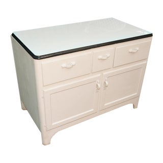 Hoosier Farmhouse Style Enamel Top Wood Cabinet For Sale
