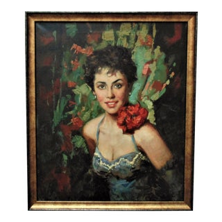 1950s Portrait of a Lady Oil Painting, Framed For Sale