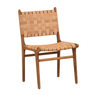 Woven Leather Dining Chair For Sale