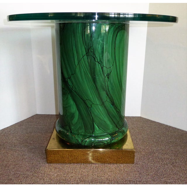 Sleek Modern Classic Malachite Column Side Table - Image 11 of 12