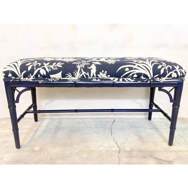 Asian 1970s Chinoiserie Faux Bamboo Benches - A Pair For Sale - Image 3 of 6