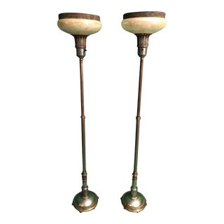 Adjustable Art Deco Funerary Torchieres - A Pair For Sale