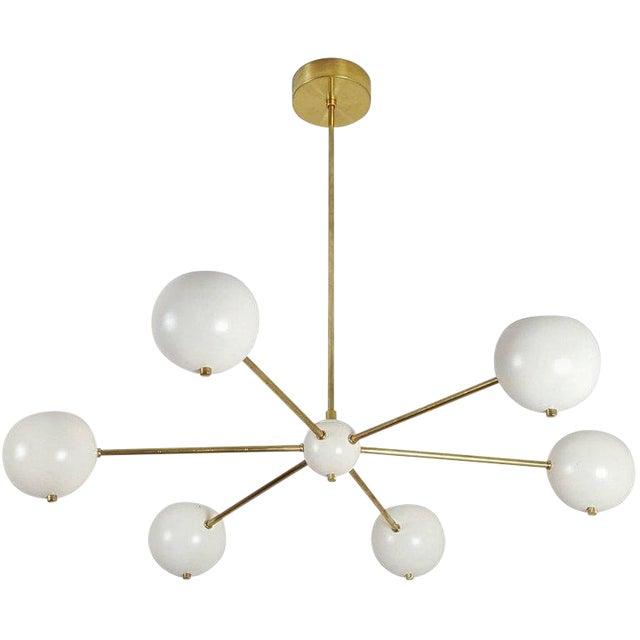 """Custom """"Aster"""" Pendant in Brass + Enamel by Blueprint Lighting For Sale"""