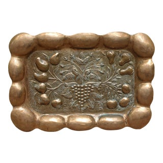 Late 19th Century Anglo-Indian Hand Raised Copper Panel or Tray of Still Life For Sale