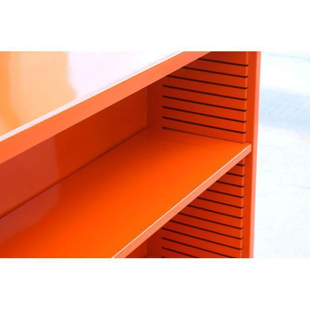 Industrial 1960s Steel Tanker Style Bookcase in Orange, Custom Refinished For Sale - Image 3 of 6