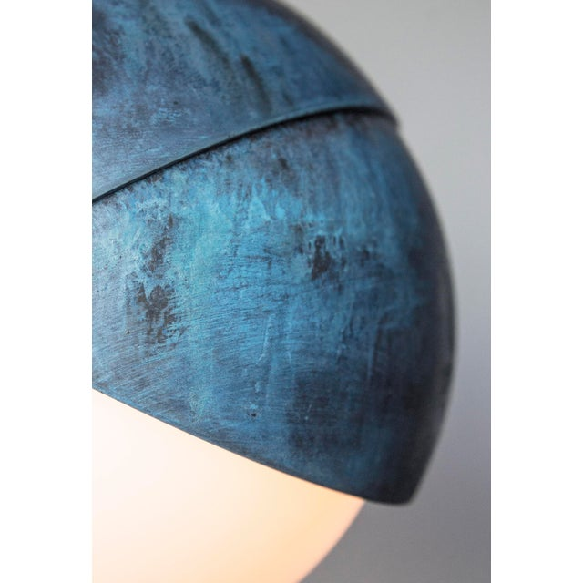 Contemporary Benedict Pendant in Prussian Blue, Polished & Blackened Brass Details With Opal Glass For Sale - Image 3 of 5