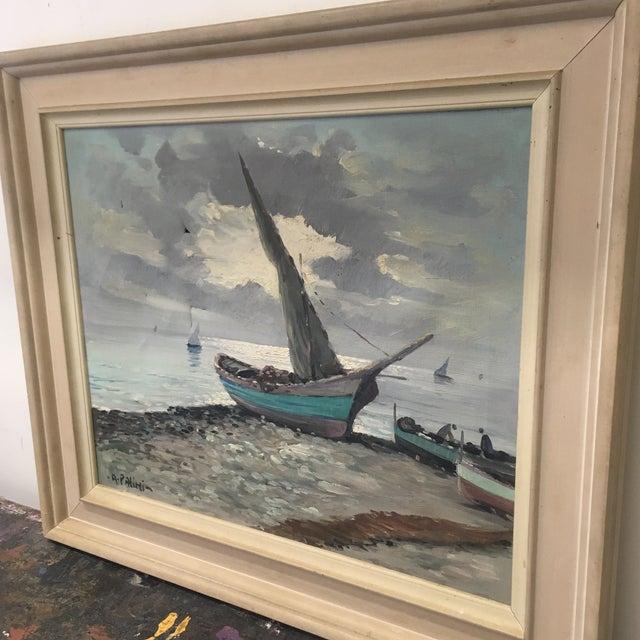 Vintage Nautical Oil Seascape - Image 4 of 11