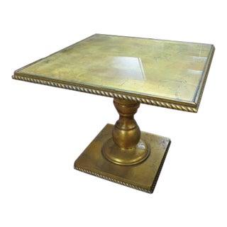 1960s Hollywood Regency Gold Leaf Pedestal Side Table For Sale