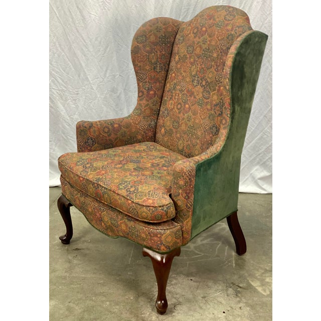 Vintage Mahogany Frame Chippendale Style Upholstered Wingback Chair For Sale - Image 4 of 11