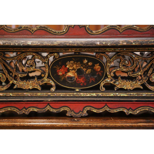 Late 19th Century 19th Century French Napoleon III Mother of Pearl and Painted Jardinière For Sale - Image 5 of 13