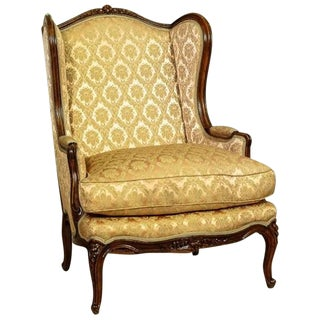 Bergère in Salmon Pink-Golden Upholstery, circa 1890 For Sale
