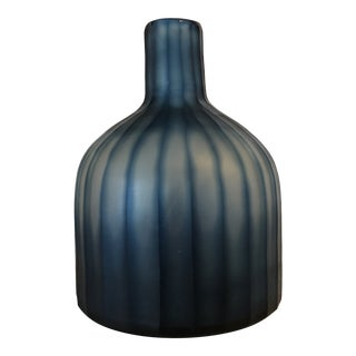 "Large Mercana Marier 2 Blue Heavy Glass Vase 10"" Tall For Sale"