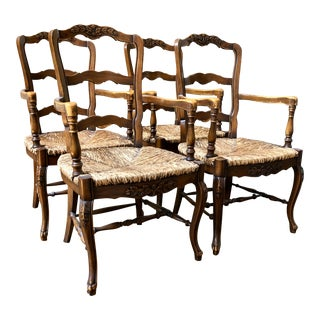 French Country Rush Armchairs - Set of 4 For Sale
