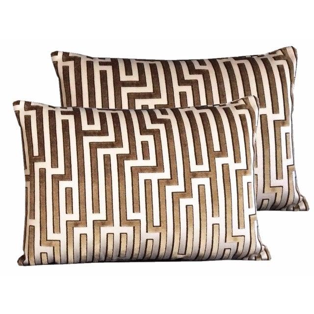 Art Nouveau Kravet Couture Cut Velvet Pillows - Set of 2 For Sale - Image 3 of 3