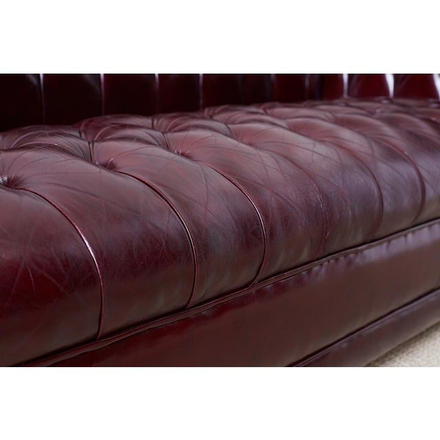 Mid 20th Century English Cordovan Tufted Leather Chesterfield Sofa For Sale - Image 5 of 13