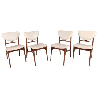 Mid-Century Modern Teak Dining Chairs in the Style of Finn Juhl - Set of 4 For Sale