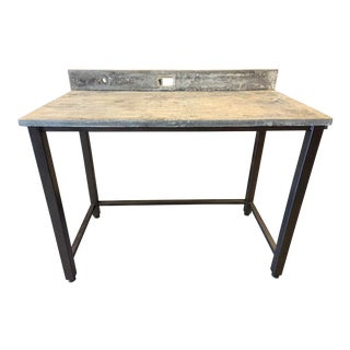 Industrial Custom Soapstone and Metal Standing Writing Desk For Sale