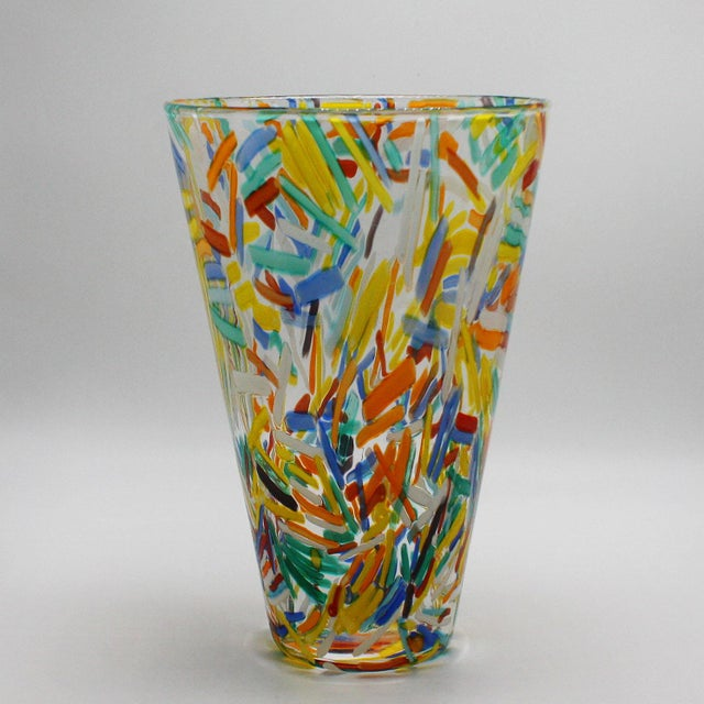 Abstract Murano Glass Vase With Colorful Etched Detailing, C. 1960 For Sale - Image 3 of 7
