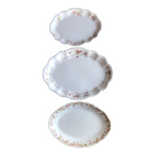 Vintage Floral Platters - Laughlin & Bassett in Cottage Rose Themes, Set of 3