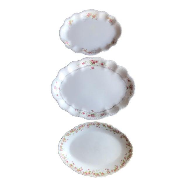 Vintage Floral Platters - Laughlin & Bassett in Cottage Rose Themes, Set of 3 For Sale