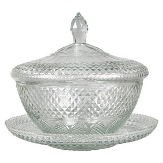 Anglo Irish Cut Glass Tureen and Undertray For Sale