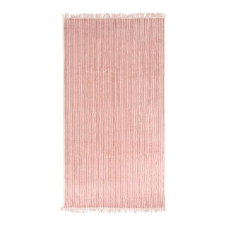 Premium Towel - Lauren's Pink Stripe with Fringe For Sale